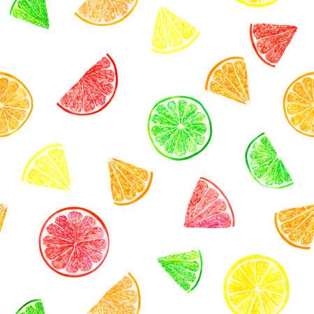 Watercolor citrus pattern with grapefruit, lime, orange, lemon slice. Citrus seamless pattern, botanical natural illustration on white background. Hand drawn watercolor painting. Organic pattern.