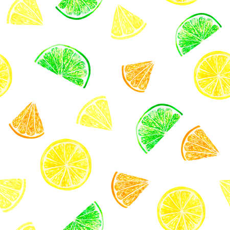 Watercolor citrus pattern with grapefruit, lime, orange, lemon slice. Citrus seamless pattern, botanical natural illustration on black background. Hand drawn watercolor painting. Organic pattern Banque d'images
