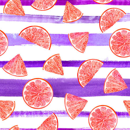 Watercolor citrus pattern grapefruit, floral seamless pattern, botanical natural illustration on ultra violet stripe background. Hand drawn watercolor painting