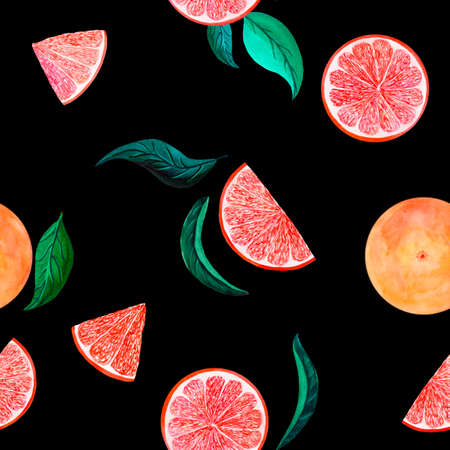 Watercolor citrus pattern grapefruit, floral seamless pattern with branch, botanical natural illustration on black background. Hand drawn watercolor painting. Organic pattern