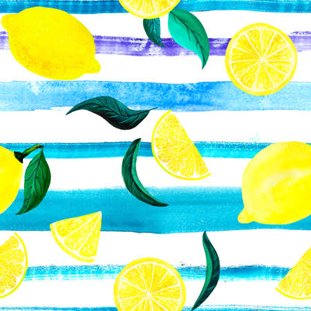 Watercolor citrus pattern lemon, seamless pattern with branch, botanical natural illustration on white background, blue striped texture. Hand drawn watercolor painting. Organic pattern. Banque d'images