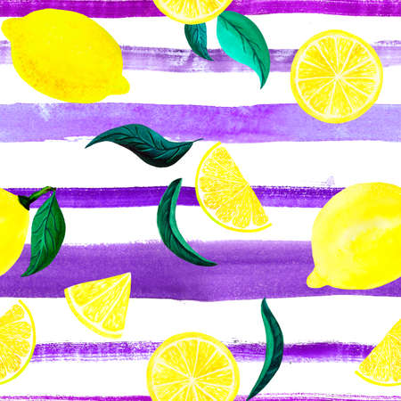 Watercolor citrus pattern lemon, seamless pattern with branch, botanical natural illustration on white background, ultra violet striped texture. Hand drawn watercolor painting. Organic pattern.