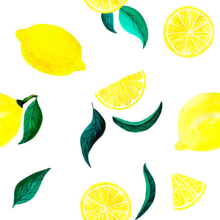 Watercolor citrus pattern lemon, seamless pattern with branch, botanical natural illustration on white background. Hand drawn watercolor painting lemon leaves. Organic pattern Banque d'images