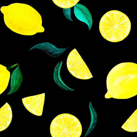 Watercolor citrus pattern lemon, seamless pattern with branch, botanical natural illustration on black background. Hand drawn watercolor painting. Organic pattern
