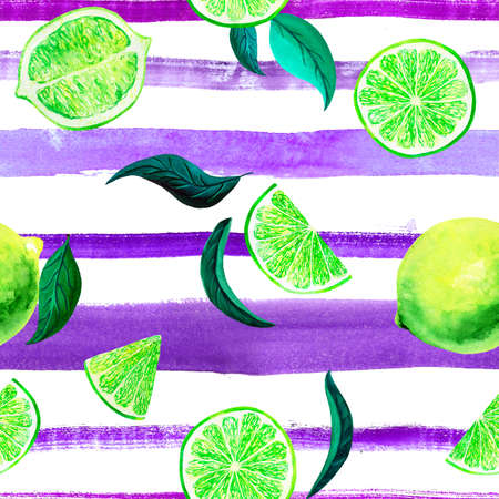 Watercolor citrus pattern lime, seamless pattern with branch, botanical natural illustration on white background, ultra violet striped texture. Hand drawn watercolor painting. Organic pattern.