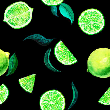 Watercolor citrus pattern lime, seamless pattern with branch, botanical natural illustration on black background. Hand drawn watercolor painting. Organic pattern
