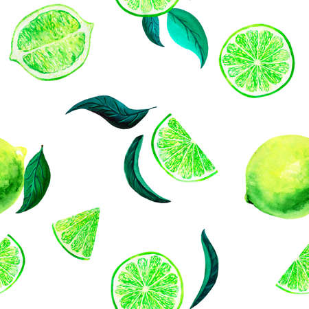Watercolor citrus pattern lime, seamless pattern with branch, botanical natural illustration on white background. Hand drawn watercolor painting lemon leaves. Organic pattern