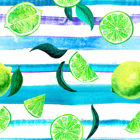 Watercolor citrus pattern lime, seamless pattern with branch, botanical natural illustration on white background, blue striped texture. Hand drawn watercolor painting. Organic pattern Banque d'images