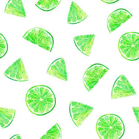 Watercolor citrus pattern lime, seamless pattern, botanical natural illustration on white background. Hand drawn watercolor painting lemon leaves. Organic pattern.