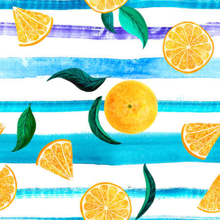 Watercolor citrus pattern orange, seamless pattern with branch, botanical natural illustration on white background, blue striped texture. Hand drawn watercolor painting. Organic pattern.