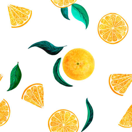 Watercolor citrus pattern orange, seamless pattern with branch, botanical natural illustration on white background. Hand drawn watercolor painting lemon leaves. Organic pattern Banque d'images