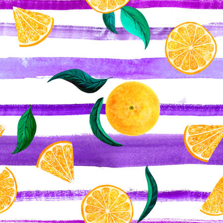Watercolor citrus pattern orange, seamless pattern with branch, botanical natural illustration on white background, ultra violet striped texture. Hand drawn watercolor painting. Organic pattern. Banque d'images