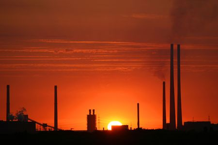 coking: sunset for industrial landscape Stock Photo