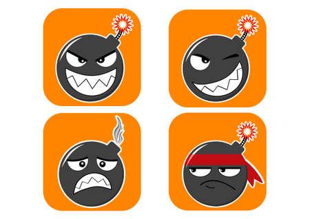 Set of bombs-emoji stickers, smiling, thinking, winking, frustrated, sad, with the burning wick Vektoros illusztráció