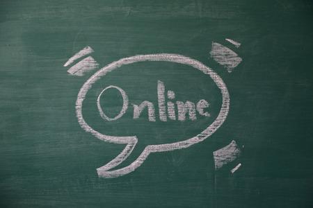green board: text online on green board