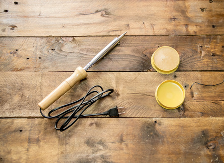 soldering: wood soldering iron on wood