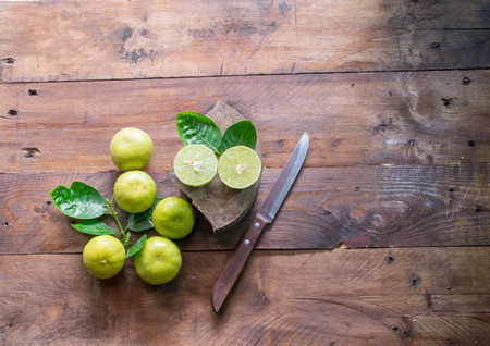 dissect: lemons with knife Stock Photo