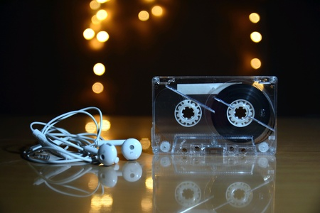Cassette tape with bokeh background