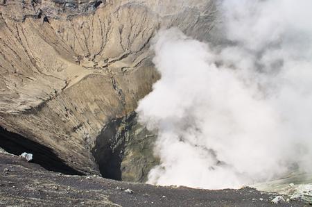 active volcano: Volcanic crate, crater volcano Bromo in Indonesia. crater of volcano Bromo. Active volcano, Bromo at Indonesia. Stock Photo