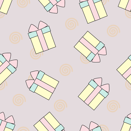 Lovely gift box seamless pattern vector on pink color background. Seamless pattern vector in pastel tone color.