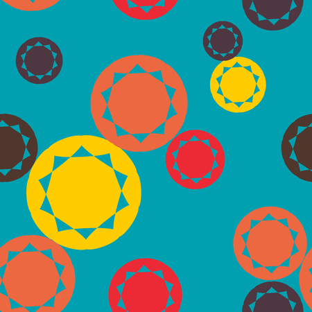 Abstract multicolor circle seamless pattern vector. Colorful round shaped pattern vector.