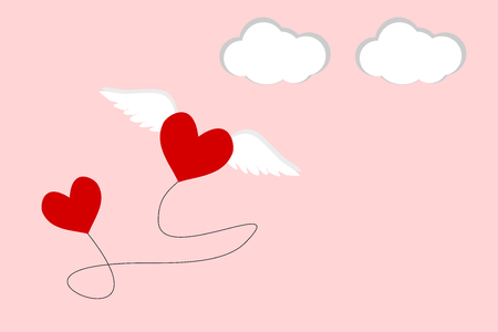 Flat design of two hearts are connect with string. One heart has the wing and is flying into the pink sky. 向量圖像