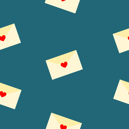 Love letter seamless pattern vector. The tiny love letter on dark blue background. Vectores