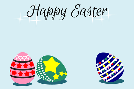 Illustration of a flat design cartoon vector, Easter eggs, on light blue background. Spring and Easter- related time.