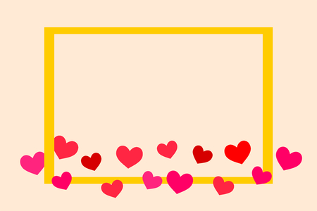 Illustration lovely tiny hearts and gold colored frame vector. Picture with copy space for writing on card.