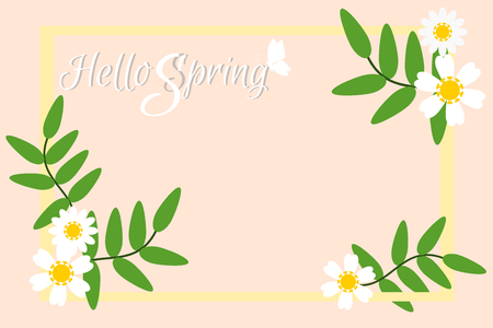 Vector illustration of Spring season with flowers in Pastel tone background. Picture with copy space. There are word 'Hello Spring' in handwriting style. Çizim