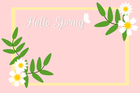 Vector illustration of Spring season with flowers in Pastel tone background. Picture with copy space. There are word Hello Spring in handwriting style. Çizim