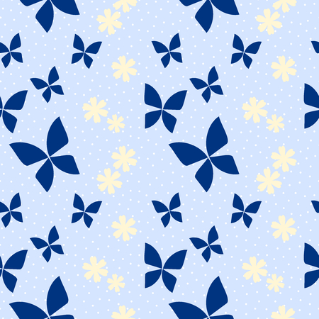 Seamless pattern vector of butterfly beautiful tiny flower. Lovely and sweet pastel yellow flower on pastel blue background. Vectores