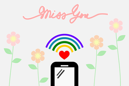 Smartphone with wifi signal. There is handwriting word Miss You in flat design, pastel flower background.