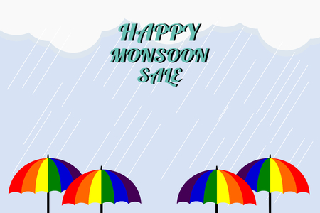Monsoon sale. Vector illustration of colorful umbrella in rainy season. There are word Happy Monsoon Sale, use for web banner, poster or flyer. Picture with copy space for marketing and advertising