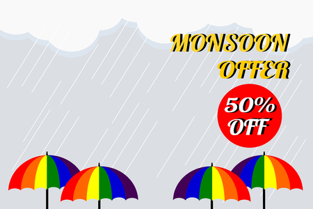 A vector illustration of colorful umbrella in rainy season. Monsoon sale offer 50% off, use for web banner, poster or flyer. Picture with copy space for marketing and advertising