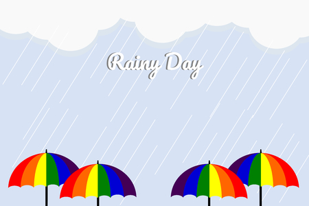 Monsoon season vector illustration of colorful umbrellas in a rainy background. A picture in flat design for greeting cards, posters or advertisements.