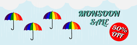 Monsoon sale. Vector illustration of colorful umbrella in  rainy season. There are word Happy Monsoon Sale, use for web banner, poster or flyer. Picture with copy space for marketing and advertising Çizim