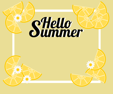 Summer background with lemon and tiny flowers. There is word 'Hello Summer'. Illustration use for web banner, poster or flyer.