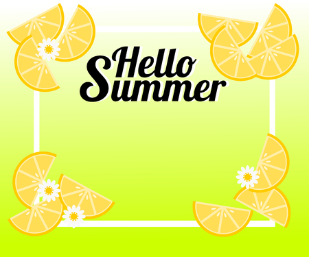Summer background with lemon and tiny flowers. There is word 'Hello Summer'. Illustration use for web banner, poster or flyer. Picture with copy space for text or product marketing and advertising.