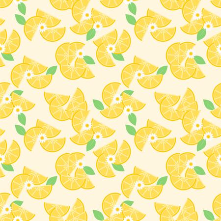 Sliced lemon seamless pattern vector. Hello Summer and freshness concept.