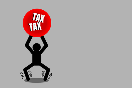 Illustration vector of man is bearing double taxes. Picture with copy space. Business, finance and tax concept. Double taxation. Illustration