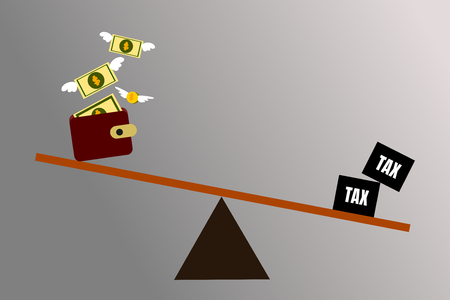 Illustration vector of money and taxes on balance seesaw. Business, finance and tax concept. Double taxation.