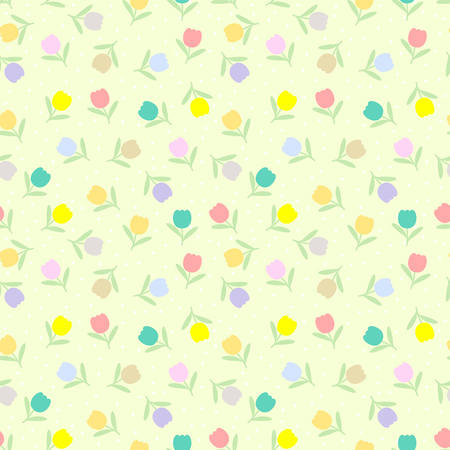 Cute tiny tulips seamless pattern vector.