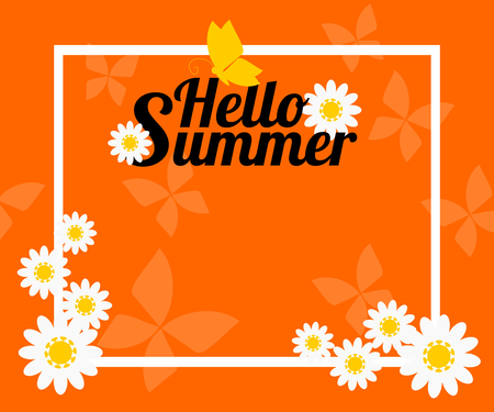 Summer background with flower and butterfly.  Vector illustration use for web banner, poster or flyer. Picture with copy space for text or product marketing and advertising. Vectores