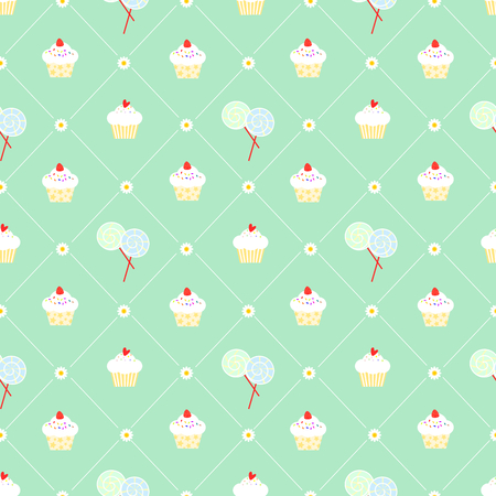 Cute cupcake and lollipop seamless pattern vector. Sweet food and delicious concept.
