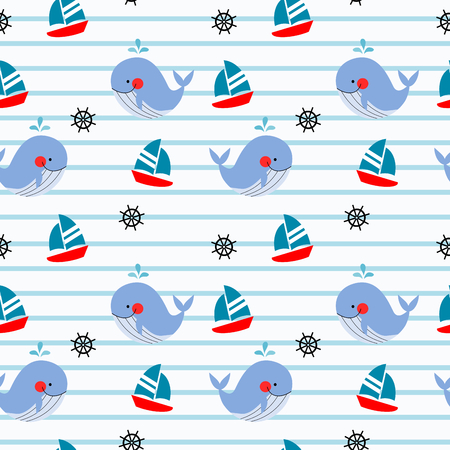 Whale and ship seamless pattern