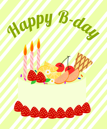 Illustration vector of birthday card. Colorful Fruit cake on light green background.