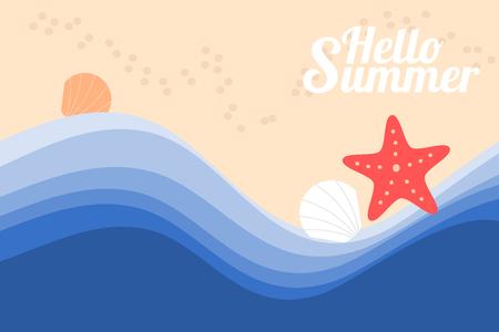 starfish, shell and sea beach. Hello summer concept.