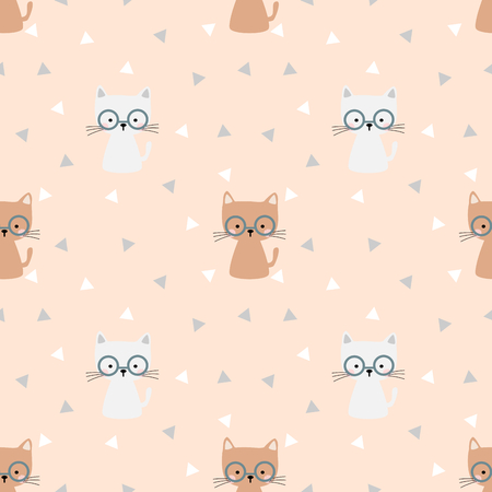 Cute cat with eyeglasses seamless pattern vector. lovely pet concept.