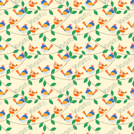 Seamless pattern vector of vivid lovely tiny birds is singing on the tree branch.